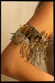 24kt gold plated over hammered copper cuff with deer suede fringe