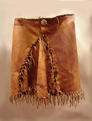 Aged deer leather hand laced skirt