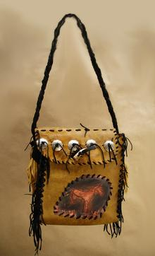 Elk Leather, original leather tooled art
