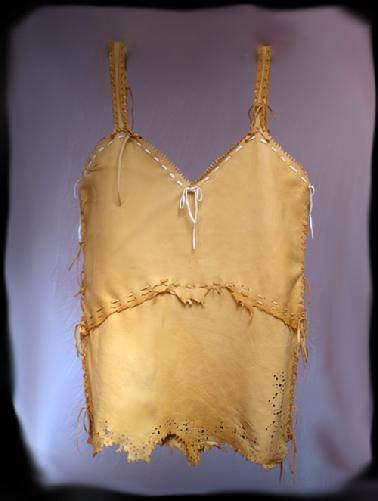 Deer leather hand laced lace cut camisole