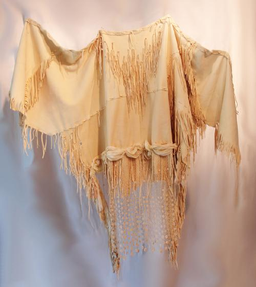 French Victorian Shawl, deer suede, antique lace